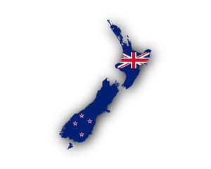 Karte und Fahne von Neuseeland