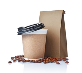 Take-out blank paper coffee cup with black cover, craft cup holder, beans and brown packet