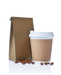 Take-out blank paper coffee cup with cover, craft cup holder, beans and brown packet