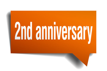 2nd anniversary orange 3d speech bubble