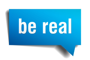 be real blue 3d speech bubble