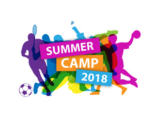 SUMMER CAMP 2018 Banner with sports silhouettes