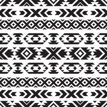 Seamless tribal black and white pattern