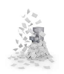 Concept of disorder. Flying documents. Documents in an office closet isolated on a white background. 3d illustration