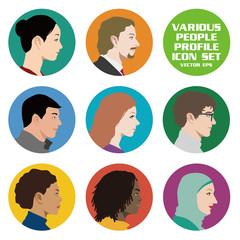 様々な国や人種の男性と女性 横顔アイコンセット
