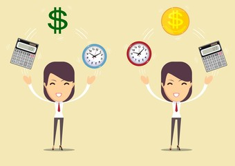 Office clock ,calculator and Money. Accountant at work.Time is money concept. Vector Illustration.