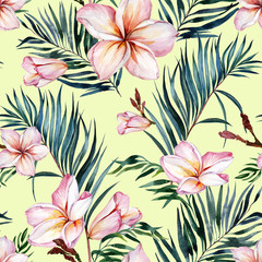 Exotic plumeria flowers and green palm leaves in seamless tropical pattern. Light green background. Watercolor painting. Hand painted floral illustration.