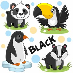 A set of wild animals and birds of black color for children and design. The image of the characters penguin, toucan, panda and badger.