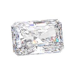 3D illustration isolated emerald diamond stone