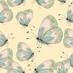 Seamless pattern of hand drawn butterflies