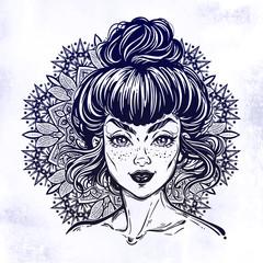 Mandala with elegant bogo diva woman portrait.