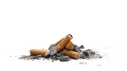 Cigarette butts, stubs with ash isolated on white