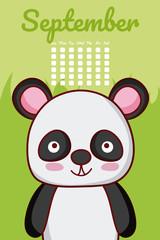 Fotobehang Zoo Panda bear cute calendar design