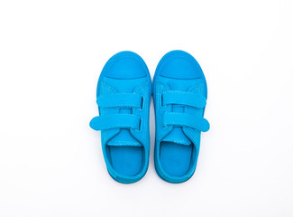 Blue shoes isolated on white background.