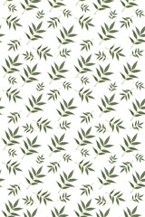 Seamless floral pattern created from natural leaves.