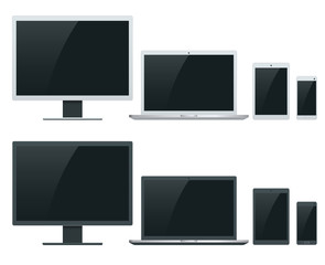 Computer, laptop, tablet and smartphone vector illustrations. Device lean on device.
