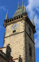 Prague in Czech Republic Ancient clock of the medieval tower