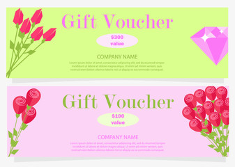 Two Gift Vouchers for 100 and 300 Dollars Flat