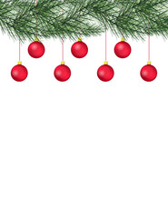Merry Christmas and Happy New Year greeting card with Chrirstmas decor fir twigs and Christmas balls.