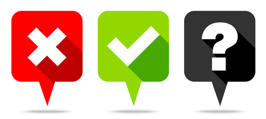 Speech Bubbles Check Marks & Question Red/Green/Black