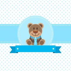 Boy Baby Card Teddy & Baby Bottle Dots