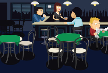 Interior of the night bar. Man in a bar orders a whiskey. Cartoon vector illustration.