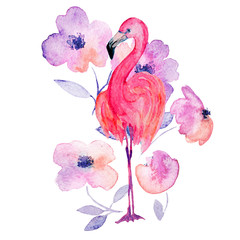 Watercolor flamingo with flowers. Hand drawn illustration.
