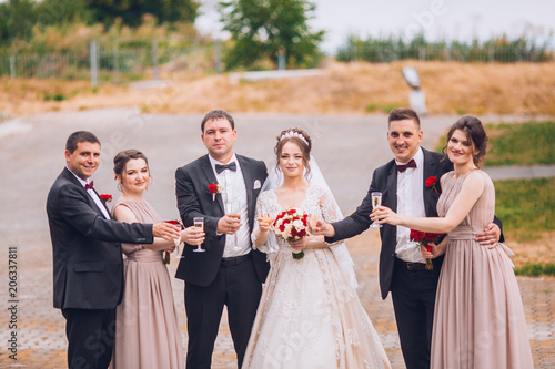 Cheerful And Fun Groom With Bride Bridesmaids With Groomsmen Posing
