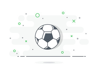 Soccer / football ball. Trendy flat vector on white background.