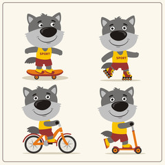 Set of isolated funny wolf on bike, skateboard, scooter and roller skates.