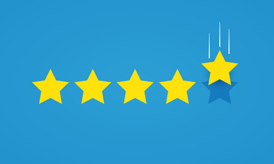 Vector illustration feedback rating concept with five stars icon for good or bad rate.