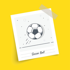 Photo frame on sticky tape with soccer / football ball. Trendy flat vector on yellow background. Vector Illustration.