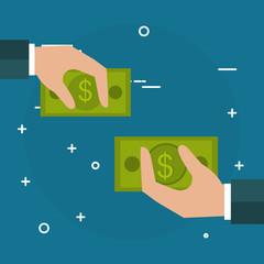 hands with bills dollars vector illustration design