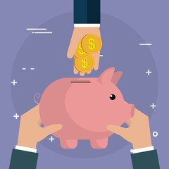 hand with coins and piggy savings vector illustration design