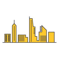 Urban skyline  line icon, vector illustration. Urban skyline  flat concept sign.