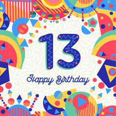 Thirteen 13 year birthday greeting card number