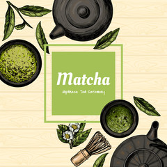 Vector frame with tea. Japanese tea ceremony. Matcha tea. Vintage style