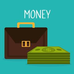 portfolio with bills dollars money vector illustration design