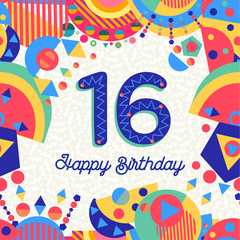 Sixteen 16 year birthday greeting card number