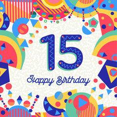 Fifteen 15 year birthday greeting card number