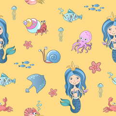 Vector hand drawing cute little mermaid princess with marine life seamless pattern background.