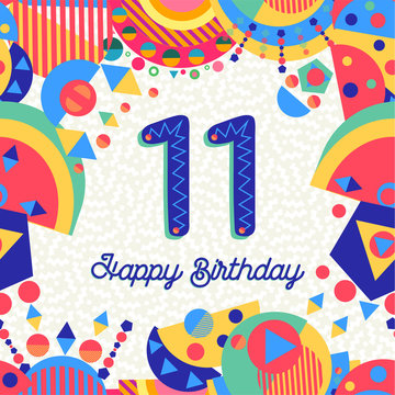 Eleven 11 year birthday party greeting card number