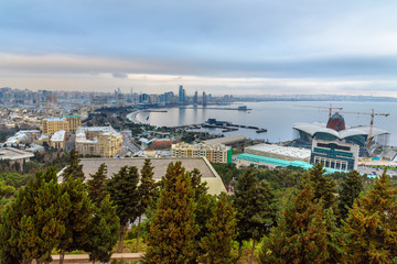 Aerial view of Baku city, View of the city boulevard in the evening. Azerbaijan