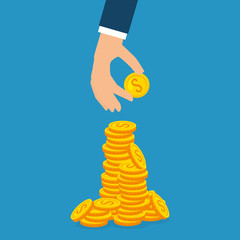 hand with coins money vector illustration design