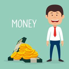 businessman with coins and bills dollars money vector illustration design