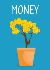 plant with coins money vector illustration design