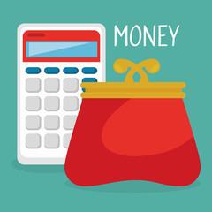 female wallet money with calculator vector illustration design