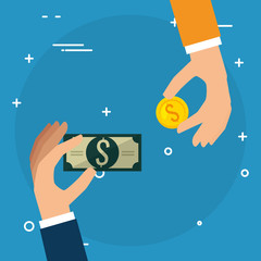 hands with coins and bills dollars money vector illustration design