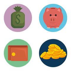 money financial set icons vector illustration design