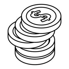pile coins money isometric vector illustration design